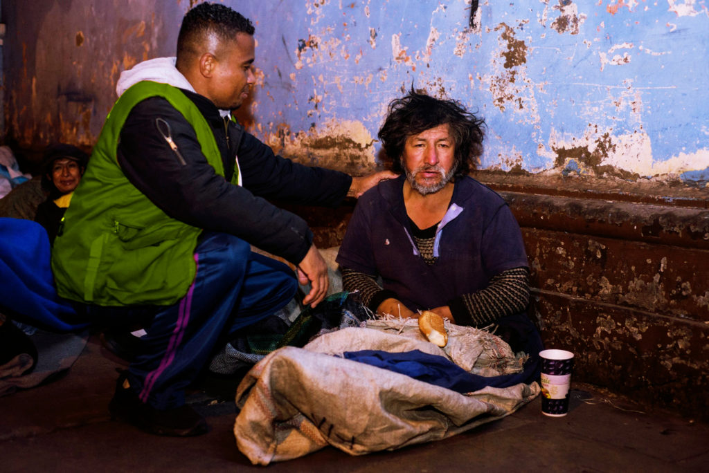 Visita a las personas sin techo